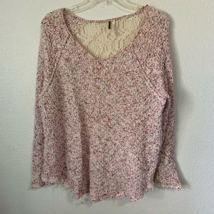 Free People Knit Lace Crocheted Back Sweater Med